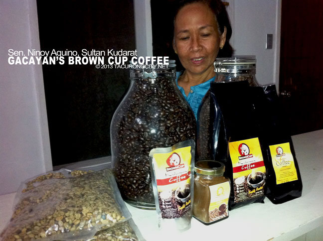 Brown Cup Coffee products displayed with the Coffee Queen herself Mrs. Gacayan