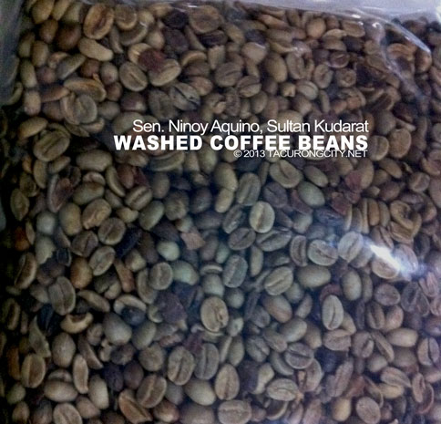 "dried, ""washed"" coffee beans. Washed beans are of premium quality"