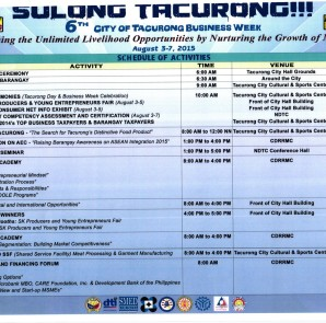 Schedule for the 6th City of Tacurong Business Week.